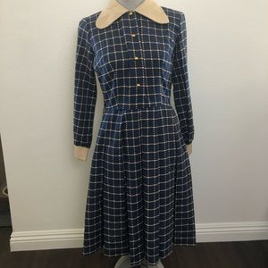 Vintage 1960 Blue Window Plaid Pleated Skirt Dress